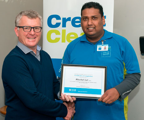 Grant presented Nischal Lal with a Master Cleaners Training Institute Floor Care Training Course Certificate of Completion.
