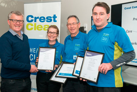 Franchisees Linda Bartlett, Colin Bartlett and David Bartlett with their British Institute of Cleaning Science Cleaning Professional Skills Suite certificates. Colin and David also completed their Master Cleaners Training Institute Floor Care Training Course.