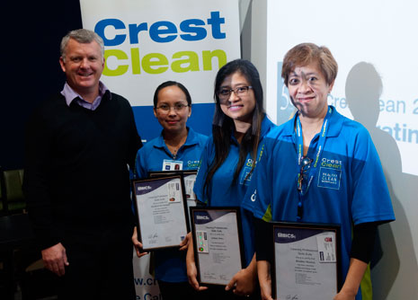 Maricel and Martin DeGuzman, Anthony Batoy and Marta and Riz Manicia with their British Institute of Cleaning Sciences Cleaning Professional Skills Suite completion certificates.