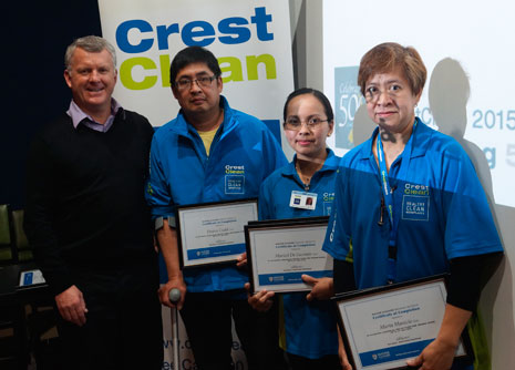 Desiree Cudal (Orland Cudal accepted Desiree's certificate), Martin and Maricel Deguzman, and Marta and Riz Manicia received their floor care training completion certificates from Managing Director Grant McLauchlan at the Invercargill team meeting.