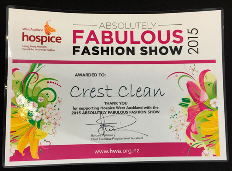 CrestClean received a certificate of appreciation from West Auckland Hospice.