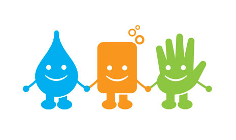 Raise a Hand for Hygiene is this year's Global Handwashing Day theme. The characters holding hands symbolize that, when water and hands are brought together with soap, health is the result and health is worth smiling about.