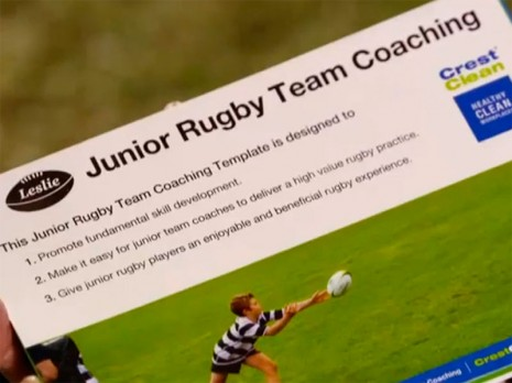 SKY TV featured the CrestClean LeslieRugby Junior Rugby Team Coaching Programme.