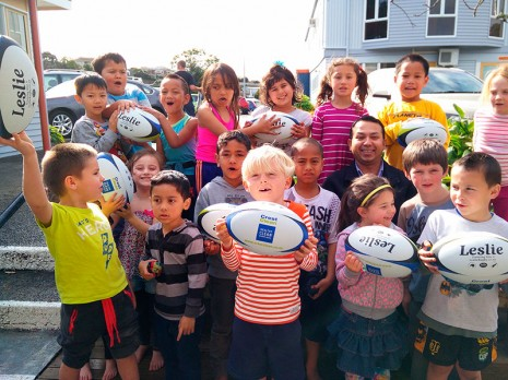 Spotswood Primary School pupils were thrilled to receive nine rugby balls.