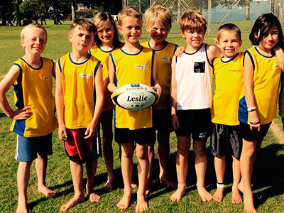 Frankley School's touch teams are enjoying using the LeslieRugby balls won by their principal at the New Plymouth Principals' Association Conference.