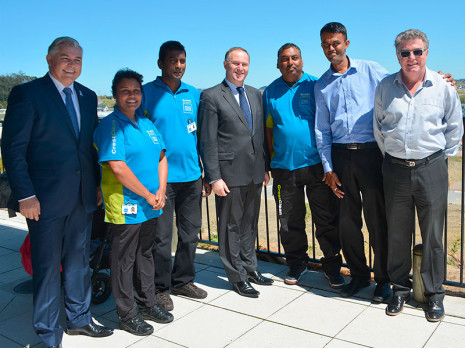From left, Rodney MP Mark Mitchell, Radhna Mani, Naresh Mani, Rt Hon John Key, Rameshwar Sharma, North Harbour Regional Manager Neil Kumar and Master Cleaners Training Institute CEO Adam Hodge.
