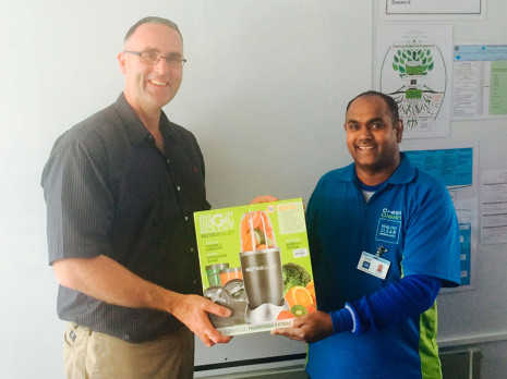North Harbour Franchisee Raven donated a Nutri Bullet, on behalf of CrestClean North Harbour, to Parakai Principal Nick Neubert for the school Gala's silent auction.