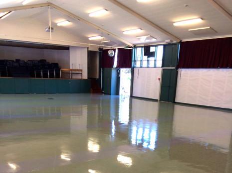 Frankton School's hall floor shines.