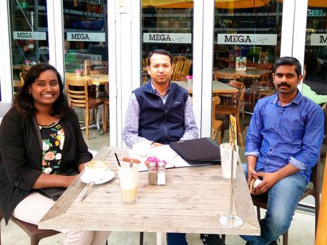 Taranaki franchisees Angeline Krithi and Sebastian M.V enjoyed a cup of coffee with Taranaki Regional Manager Prasun Acharya.