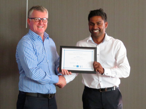 Christchurch North Regional Manager Yasa Panagoda received his three year Long Service Award from Managing Director Grant McLauchlan.