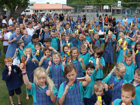 Hastings Christian School children cooled off with a Paddle Pop ice block.