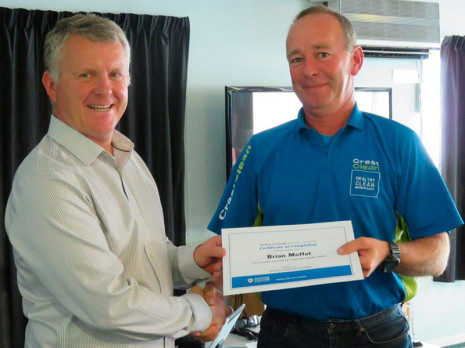 Brian Moffat received his Hard Floor Care Course completion certificate from CrestClean Managing Director Grant McLauchlan.