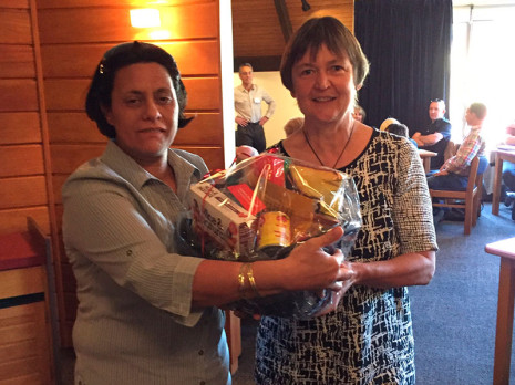 As part of Crest's stand, attendees were given an opportunity to enter the draw to win a gift basket. The lucky winner was Maitai School Principal Jane Wills.