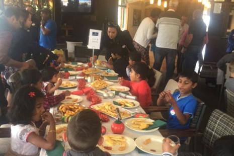 Children enjoyed their Christmas lunch.