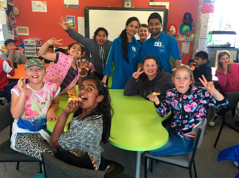 Room 10 pupils at St Dominic's Catholic Primary School won the first Cleanest Classroom Award. West Auckland Franchisees Vishal and Dimpal delivered Pizza as their prize.