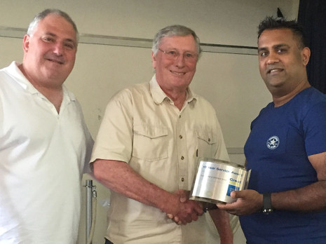 Auckland Central Regional Manager Dries Mangnus and Chairman of Directors Marty Perkinson presented Pramesh Datt with a 10 Year Long Service Award.