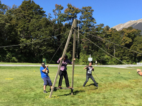 Nelson Regional Manager Barbara de Vries puts trust in her team who had to ensure she stayed upright as part of a recreation afternoon at the Nelson Principals' Association Conference.