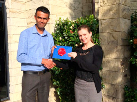 North Harbour/Whangarei Regional Manager Neil Kumar presented Nicki Pugh, from Centurion Management in Albany, with a SkyCity Hotel voucher she won in the prize draw at the Business North Harbour Expo.