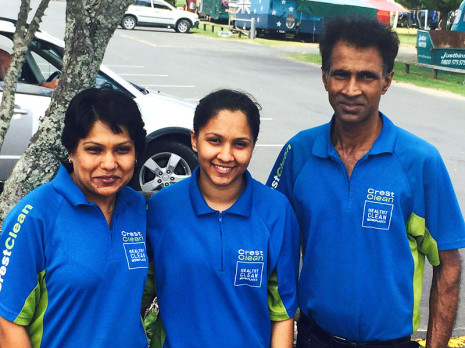 Team Sharma, from left, Yashmin, Shewta and Jiten, are enjoying growing their CrestClean franchise.