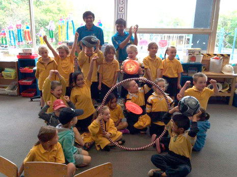 Room 3 children at Waimataitai School in Timaru were thrilled they received sports equipment after they won the first round of the Cleanest Classroom competition. They are pictured with franchisees Harsh Patel, left, and Kirti Patel.