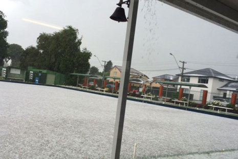 A thunder and hail storm transformed the Riccarton Racecourse bowling green.