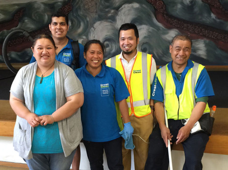Invercargill Franchisees, from left, Richard Chand, Marlene Madrid, Ping Sarical and Roberto Calanaun completed a spring clean at Murihiku Marae. They are pictured with Waihopai Runaka Inc receptionist Jess.