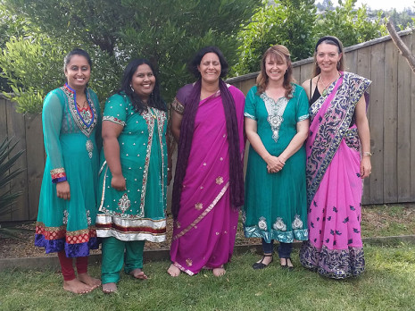 Arishma Singh, Sameeta Kumar, Regional Manager Barbara de Vries, Julie Ashton and Heidi Borgfeldt enjoyed wearing a sari.