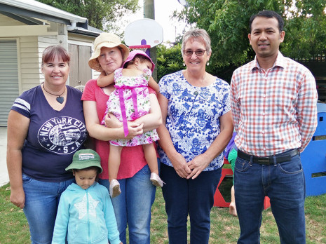 Leigh McGrath (left), Amanda Hogan, Alyson Fitzsimons and Taranaki Regional Manager Prasun Acharya at Waitara Central Kindergarten.