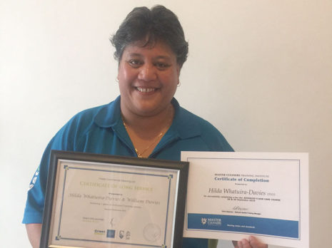 Dunedin franchisee Hilda Whatuira-Davies and her husband William Davies are celebrating seven years with CrestClean. Hilda also received a certificate for completing the Master Cleaners Training Institute Advanced Floor Care Course.