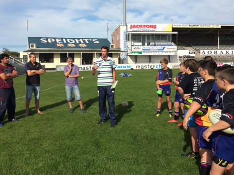 John Leslie talks through the junior rugby coaching content with players and coaches at Alpine Energy Stadium in Timaru.