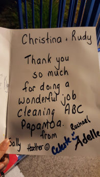 Christina and Rudy Yoon received a card from ABC Papamoa for doing a wonderful job.