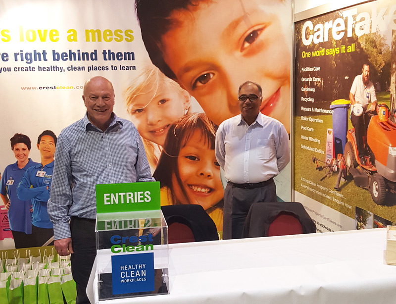Manning Crest's stand are Richard Brodie, Wellington Regional Manager, and Pravin Hansaraj, Hutt Valley Regional Manager.
