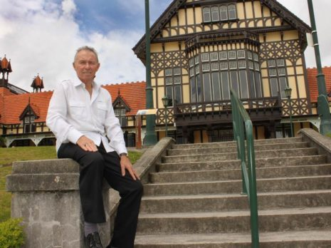 Bill Douglas in front of Rotorua's landmark museum.