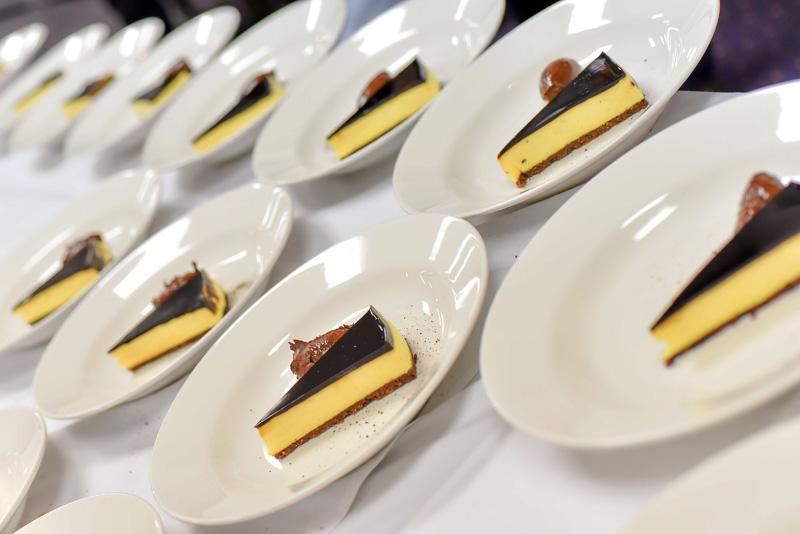 Tiramisu cheesecake beautifully presented for diners.