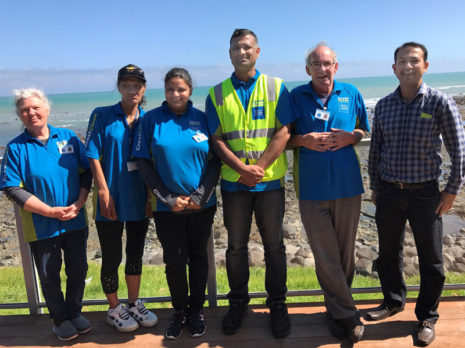 Time for a well-earned break during one of the training sessions in New Plymouth. With Taranaki Regional Manager Prasun Acharya (far right) are Hilary DeGroot, Manakinui Komene, Rajveer Kaur, Sunil Asi and Richard DeGroot.
