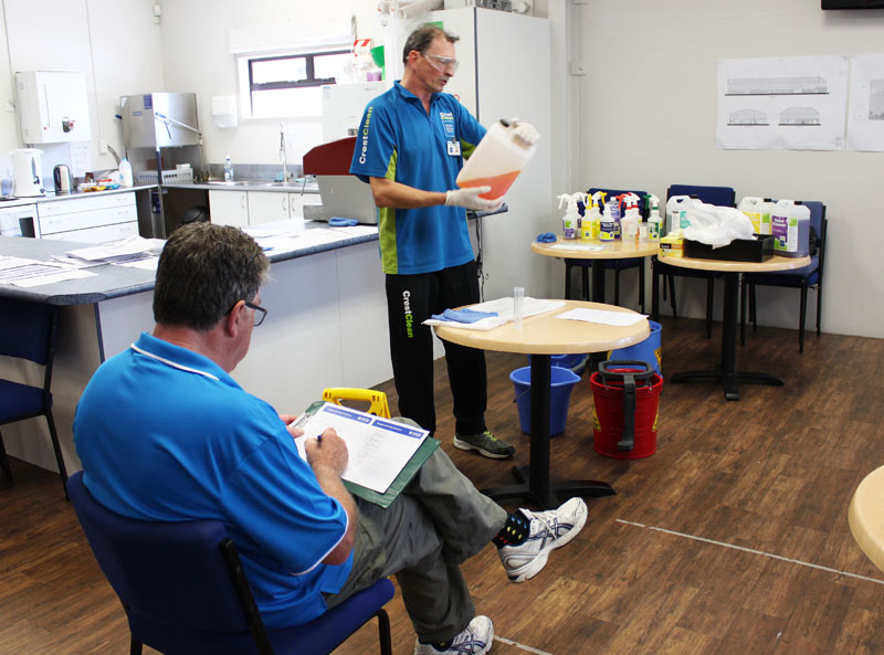 Franchisee Malcolm Brown is scrutinised by Adam Hodge during the assessments in Tauranga.