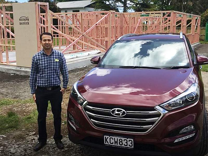 Prasun Acharya has a brand new car and is having a home built for his family.