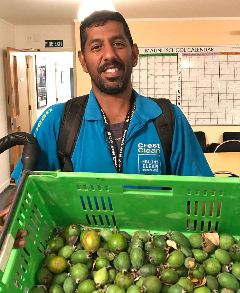 Salendra Chetty with some feijoas for Maunu School.
