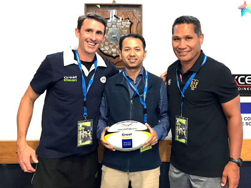 John Leslie with CrestClean's Taranaki Regional Manager Prasun Acharya and Jack Kirifi, Taranaki Rugby Development Officer.