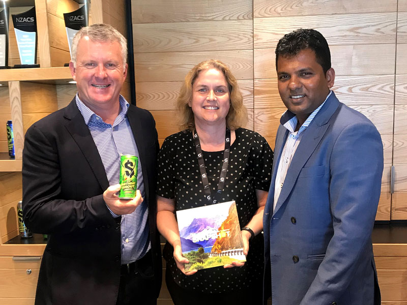 Crest's Managing Director Grant McLauchlan with Frucor's Jackie Rzepka and Viky Narayan, CrestClean's Regional Manager South Auckland.