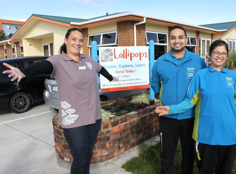 Lollipops Centre Manager Sonia Jordan with CrestClean business owners Shahash Adhikary and his wife Isha Pyakurel.