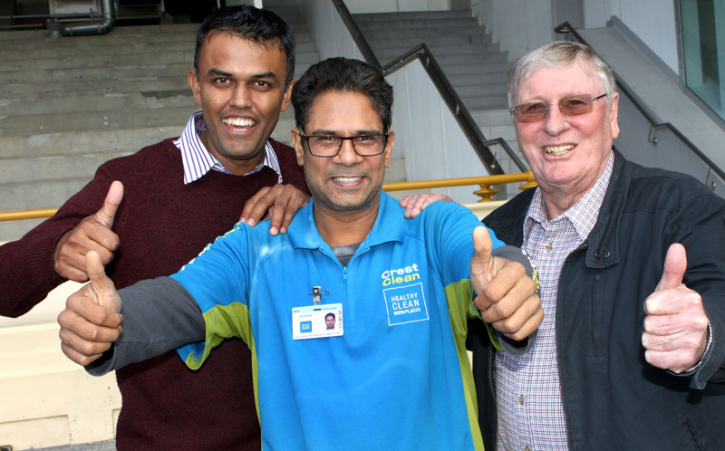 Sanjay Patel, who won $10,000 of gross turnover for his business. With him are Neil Kumar, North Harbour Regional Manager, and CrestClean chairman of directors Marty Perkinson who made the prize draw.