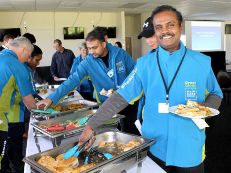 Lalith Degambada tucks into lunch at the recent CrestClean team meeting in Rotorua.