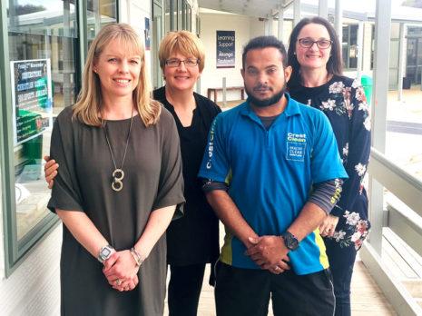 CrestClean's Aznayne Ali with teachers Tarryn Rose, Heslia Swanepoel and Christina Havill