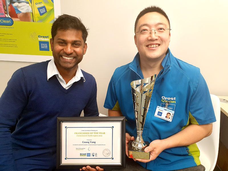 Sunny Yang, Franchisee of the Year,  with Yasa Panagoda, CrestClean's Christchurch North Regional Manager.
