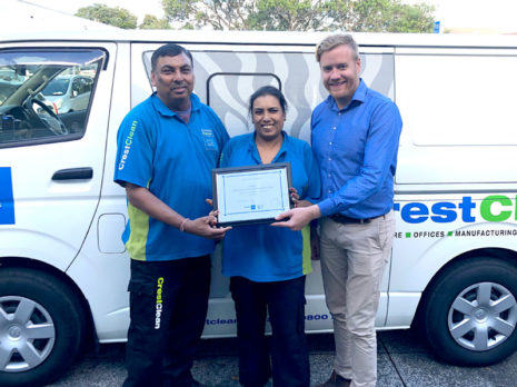 Rameshwar Sharma and Rasmi Kiran Lata receive their long service certificate from Damon Johnson, CrestClean's Assistant Franchise Manager.