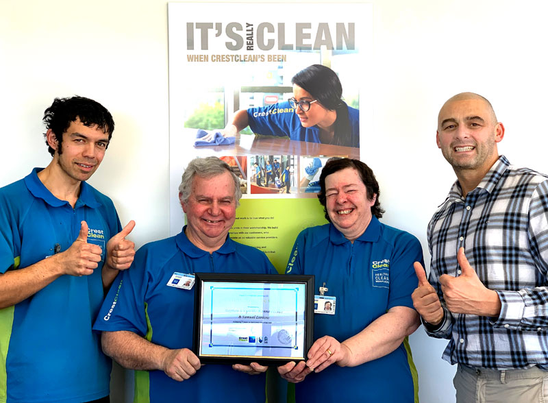 Steve Kannewischer with his wife Lynne and  stepson Sam Larkins are celebrating seven years with CrestClean. Also pictured is Tony Kramers, CrestClean's Dunedin Regional Manager.