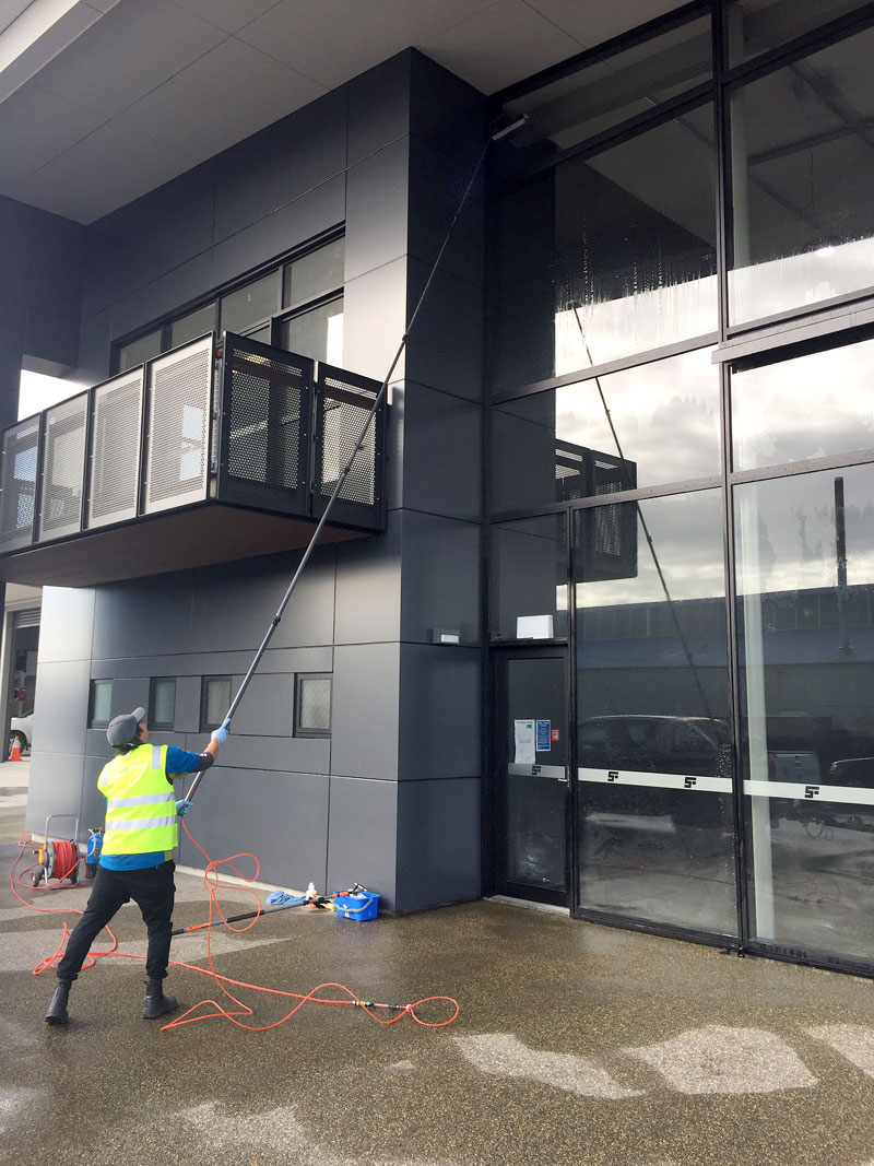 The Pure Water Cleaning system can tackle windows up to five storeys high.