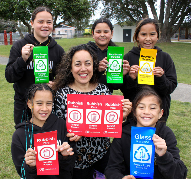 Tui Rolleston, Matapihi School's Tumuaki, with students Enchant'd Quinn, Alexis Ngatai, Meeah-May Sullivan, Maioha Merritt-McDonald, and Kataraena Ngawhika-Kerr.